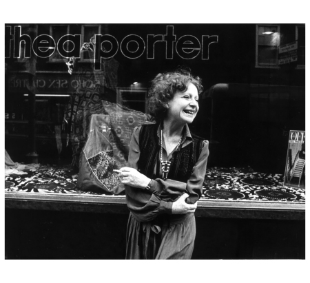 Thea Porter outside her Greek Street shop, 1977