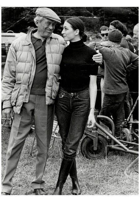 Film Director John Huston With His 16-year-old Daughter Anjelica Huston On Set Of Film 'sinful Davey' Near Dublin Ireland.