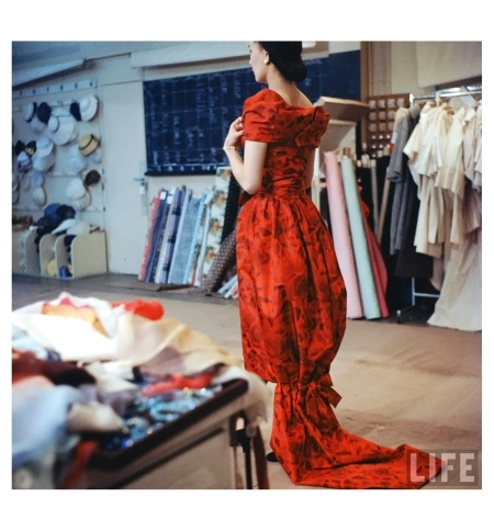 Model Look in mirror new Christian Dior collection Photo Loomis Dean 1957 b