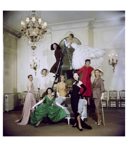 Models posing in new Christian Dior collection – (iconic) 1957 LIFE