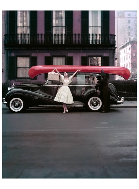 %22Red Canoe, NYC%22 Barbara Mullen, %22Summer, Supima, World's Finest Cotton%22, Gramercy Park, for Douglas Simon,1956 Photo William Helburn