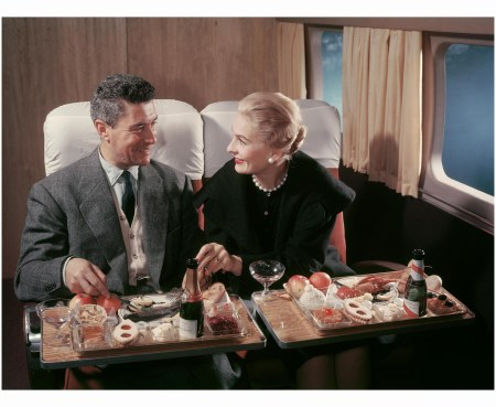 A Couple Dining on board the Lockheed Super Constellation 1950 Airfrance
