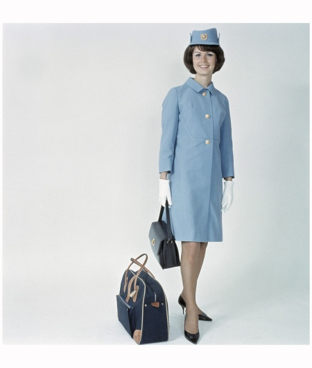 SAS Uniforms. Air hostess Agneta Manegård summer uniform designed by Christian Dior, 1971-1983