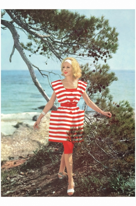 Sculptural couture stripes by Jacques Griffe photographed in 1960 Philippe Pottier:Thames & Hudson