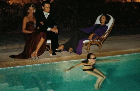 Grace Coddington in the pool of the Hotel Byblos, St Tropez, October 1973 © Helmut Newton