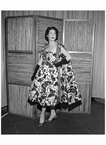 Kitty Carlisle Wearing Print Dress