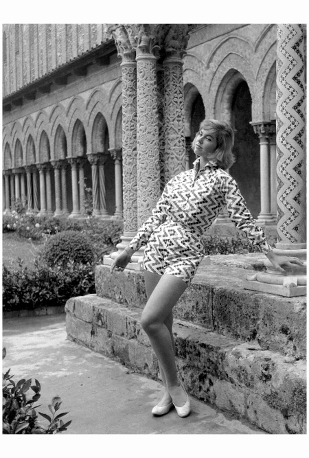 Model in Emilio Pucci Siciliana Collection spring:summer 1955, photographed by Elsa Haertter, Monreale, Sicily