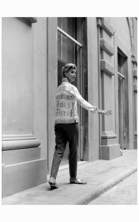 "Model wearing Emilio Pucci, 1958:1959. The print on the shirt is ""Dantesco"", designed by Pucci himself"