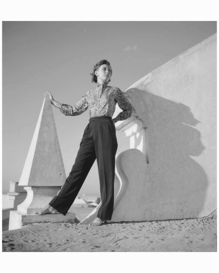Model wearing printed shirt and trousers in jersey all by Emilio Pucci, 1950:1951
