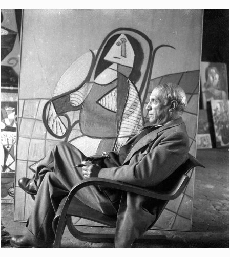 Pablo Picasso With his 1943 painting The Rocking Chair, Paris, 1944