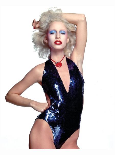 Warhol Superstar Donna Jordan works the no-eyebrows look way back in 1977 Photo Chris Von Wangenheim