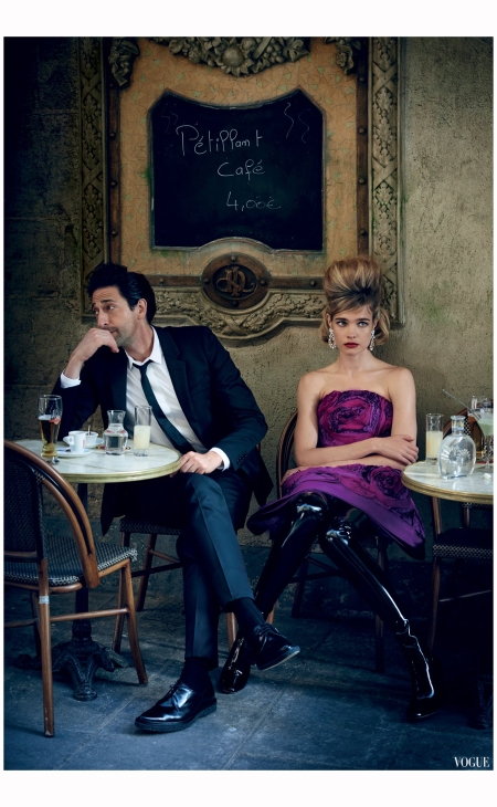 Adrien Brody Natalia Vodianova %22South France%22Peter Lindbergh, Vogue, July 2015