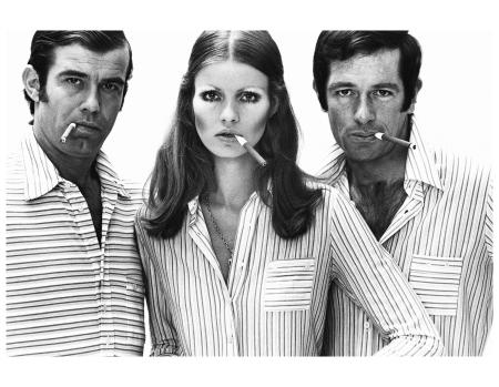 Beschka Tolstrup and two male model in unisex fashion, model Falke. Hamburg 1970 Photo FC Gundlach