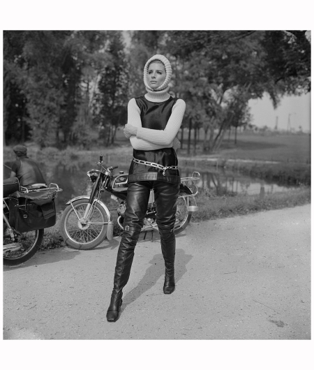 British fashion model and photographer Jill Kennington wearing a vest, turtleneck, and leather trousers, 24th August 1967 Reg Lancaster