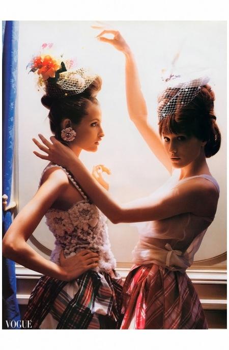 Carla Bruni and Meghan Douglas Hotel de Crillon Vogue Apr 1994 Photo Dewey Nicks