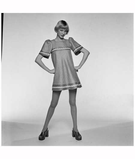 Fashion model 'Havington' showing a flared mini dress, 7th March 1972 Photo Joseph McKeown