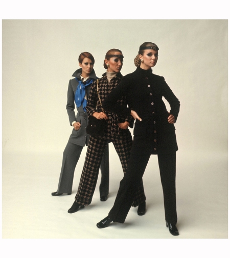 Female models wearing pants suit fashions designed by Yves Saint Laurent 1968 Photo Bill Ray l