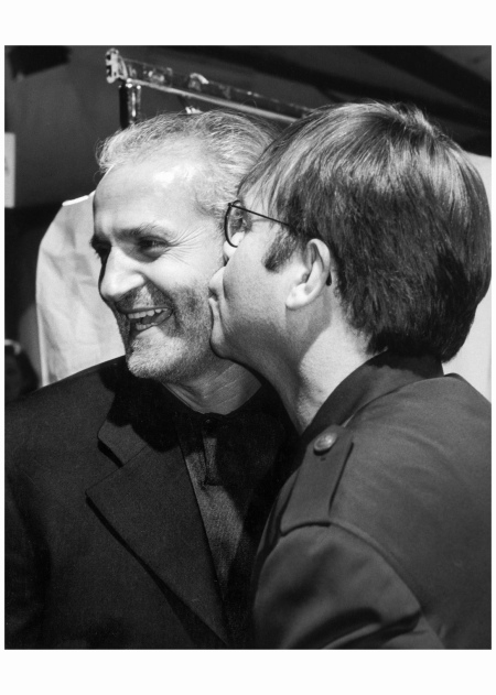 "Gianni Versace and Elton John ""They were very close. It was right after Gianni's show; you go in the back and give a kiss."" 1993 Photo Marina Schiano"