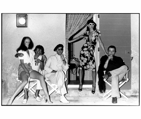 Grace Coddington, Helmut Newton, Manolo Blahnik, Anjelica Huston and David Bailey, Corsica, 1973