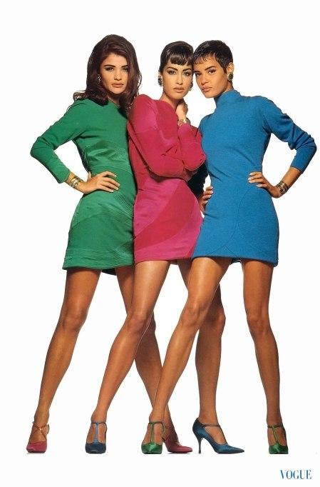 Helena Christensen, Yasmeen Ghauri and Nadege du Bospertus Vogue Italia, october 1991 Ohiti Walter Chin