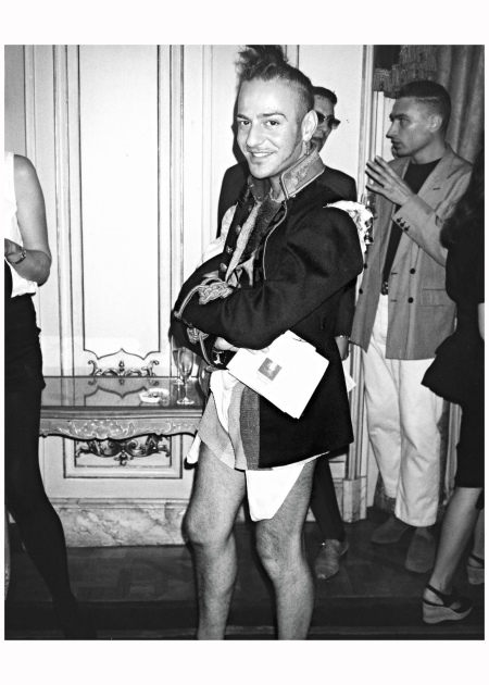 "John Galliano ""Poor darling. This was during his own collection in Paris. He was a charming boy at the time, an amusing talent. I don't know what happened to him. Probably too much work."" 1991"