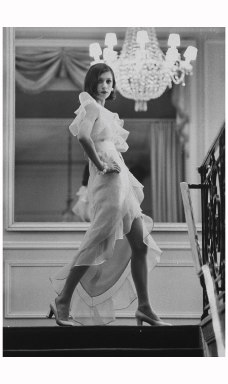 Model Prunelia wearing a Marc Bohan evening dress Paris 1968 Photo Bill Ray