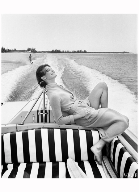 Nassau Ann Turkel on speedboat 1970 american vogue Photo Patrick Lichfield