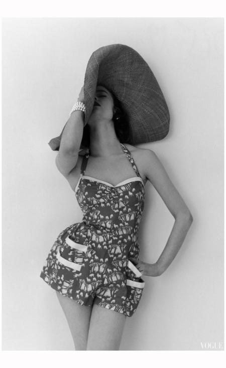 Susan Abraham in Beachwear Fashion vogue may 1952 Photo John Deakin