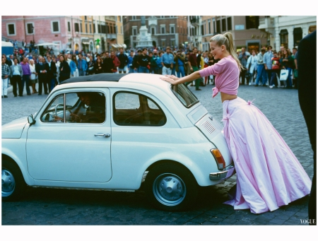 This car has become a symbol of Italy and la dolce vita. This one appeared in Vogue in 1994 Arthur Elgort