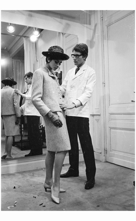 Yves Saint-Laurent, ex-wonder boy of Dior, working with a fashion model at his own fashion house in Paris Photo Reg Lancaster