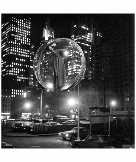%22Free Bubble Parking (First 90 Minutes)%22, with Tilly Tizzani during the trial run of %22The Bubble Series%22 in New York City, photo by Melvin Sokolsky, 1963 b
