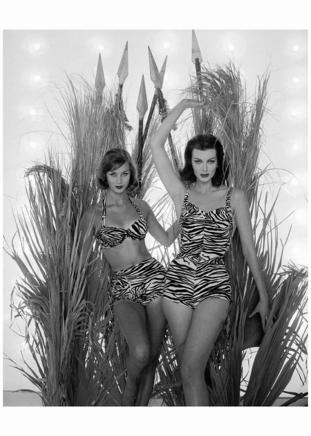 Anna Carin Bjorck and Carmen Dell' Orefice in bathing suits from the Animal Collection by Cole of California, photo by William Helburn for DDB, 1959