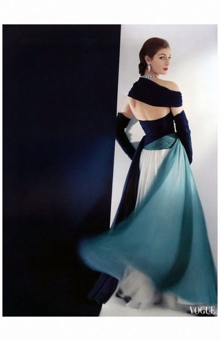Fiona Campbell-Walter in navy, white and turquoise chiffon gown by Jean Dessès,  Vogue April 1952 Horst P.Horst