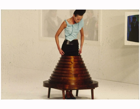 Hussein Chalayan's coffe table skirt F|W 2000 Photo Niall McInerney