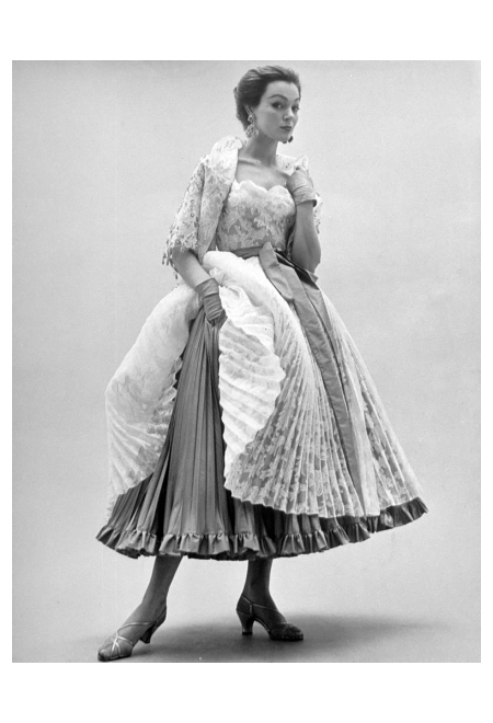 Lace ball gown, designed by Hubert de Givenchy.