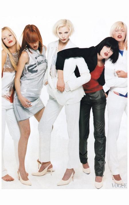 Karen Mulder, Linda Evangelista, Meghan Douglas, Nadja Auermann, and Shalom Harlow model Helmut Lang's Spring 1995 collection Vogue, January 1995 Steven Meisel