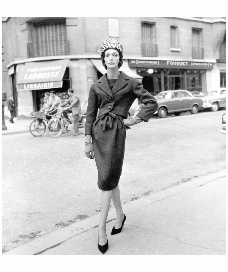 Kouka wears the perfect town suit with leopard pill box hat by Yves Saint Laurent for Dior, Paris 1959 Photo Willy Maywald, Paris