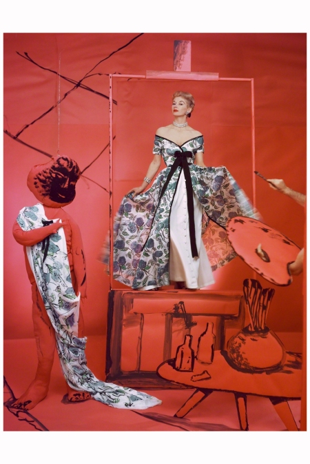 Lisa Fonssagrives, Dress by Pierre Balmain, Background by Marcel Vertes, 1953 Photo Horst P. Horst