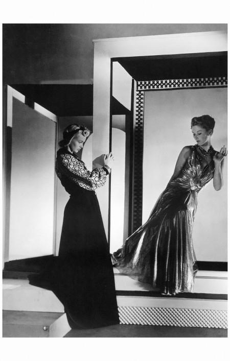 Madame Buchardt and Lisa Fonnsagrives in evening dresses by Lucien Lelong, 1938 Horst P. Horst