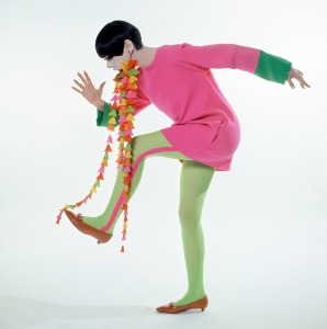 Peggy Moffitt in Rudi Gernreich Mini-dress with Flower Earrings, 1967 William Claxton The Total Look The Creative Collaboration between Rudi Gernreich, Peggy Moffitt, and William Claxton Mini_Dress