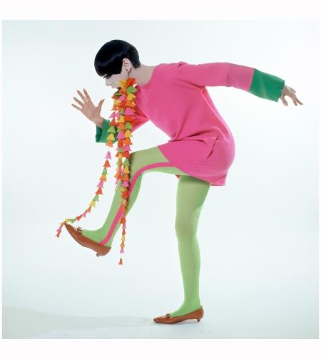Peggy Moffitt in Rudi Gernreich Mini-dress with Flower Earrings, 1967 William Claxton