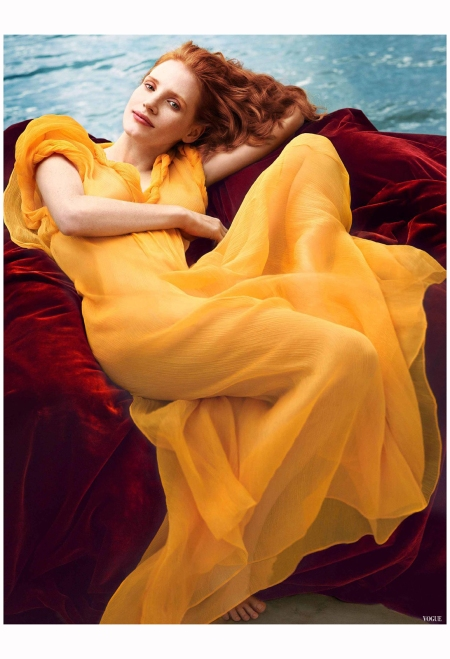 US Vogue December 2013  Jessica Chastain by Annie Leibovitz