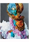 Vogue US Dec. 2002 - Joy to the World by Steven Meisel Karen Elson dressed up in this colorful look by John Galliano, with makeup by Pat McGrath 1980's exibit by Steven Meisel