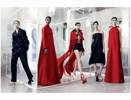 Xiao Wen Ju, Tami Williams Grace Hartzel Lexi Boling and Kirsten Liljegren John Galliano In a color palette of black with shafts of scarlet, Williams, Ju, and Boling wear looks from Maison Margiela Artisanal Photo Craig McDean, Vogue, March 2015 b