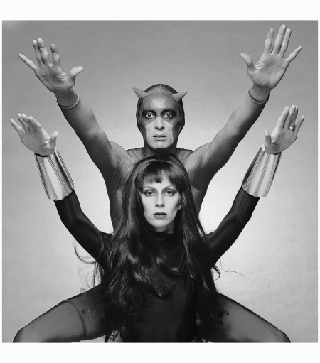 Angela Bowie as Black Widow with actor Ben Carruthers s comicbook superhero Daredevil 1975 Terry O'Neill