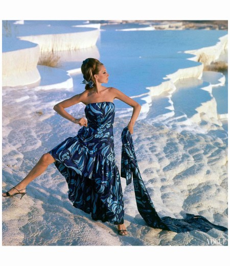 Antonia Near The Chalk-water Basins of Pamukkale, Turkey, wearing a strapless print gown with flounced hem by Jobere Vogue Dec 1966 Photo Henry Clarke