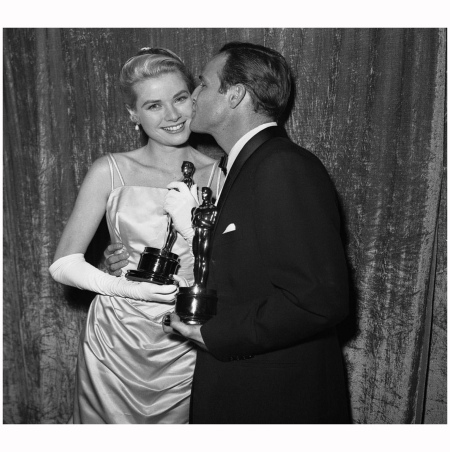 Backstage At The 27th Annual Academy Awards Brando Kiss Grace Kelly On The Waterfront' Marlon Brando, and Grace best actress winner for her performance in 'The Country Girl' 1955