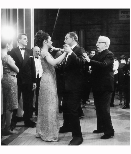 Charlie Chaplin at Pinewood studios near London, directing his daughter Geraldine and Marlon Brando during a scene from the film 'The Countess from Hong Kong'. 1966 Photo J. Wilds