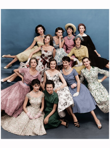 Eileen (front row, in green) with a fleet of Ford models, 1955 Digital Colorization by Lorna Clark; By Mark Shaw: