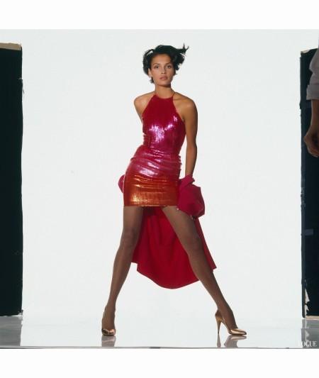 Famke Jenssen - in Carolyne Rohem sequined halter minidress Vogue Feb 1988 Wayne Maser